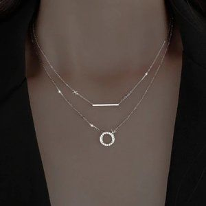 *NEW 925 Sterling Silver Bar Circle Necklace